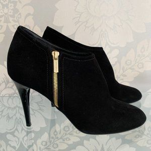 JIMMY CHOO Black Suede Ankle Boots/Booties w/ Zippers & Shiny Heels